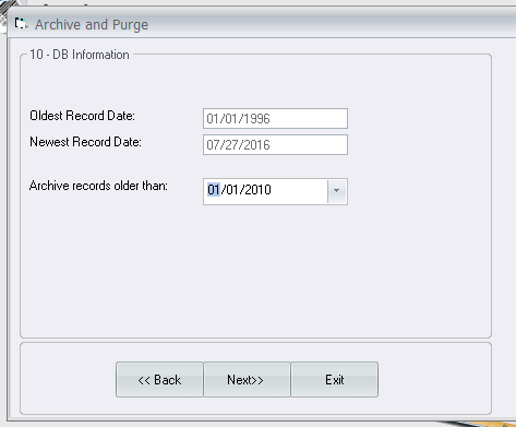 Archive and Purge Date Range